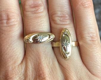 Antique Diamond 9K Gold Cufflink Ring