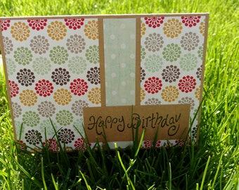 Mint Color Block Handmade Happy Birthday card