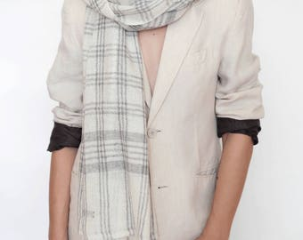 White cashmere scarf for men and women, checkered scarf, wool scarf, women's  pashmina scarf, beautiful scarf, men's scarf, scarf, scarves