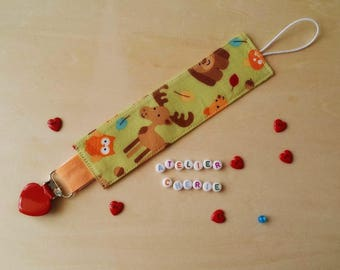 "Pacifier clip in cotton ""Animals"""