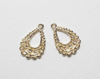 P0706/Anti-Tarnished Gold Plating Over Pewter/Lace Teardrop Pendant/13x18.5mm/4pcs