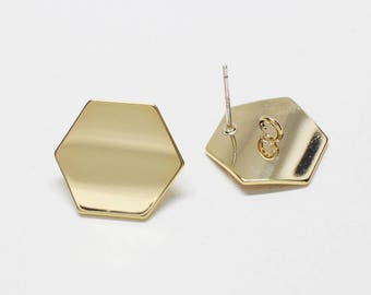 E0199/Anti-Tarnished  Gold Plating Over Brass+Sterling Silver Post/Large Curved Hexagon Stud Earrings/18.5x16mm/ 2pcs