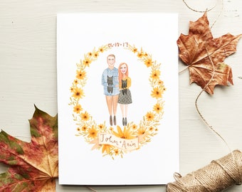 Watercolour Couples Illustration - Custom Portrait - Anniversary Present, Wedding, Birthday, Housewarming, Wall Art, Paper, Painting, Framed