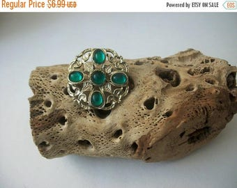 ON SALE Vintage Antiqued Gold Tone Filigree Green Glass Pin 51117