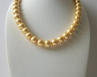 ON SALE Vintage Gold Glass Beads Heavier Shorter Length Necklace 102216