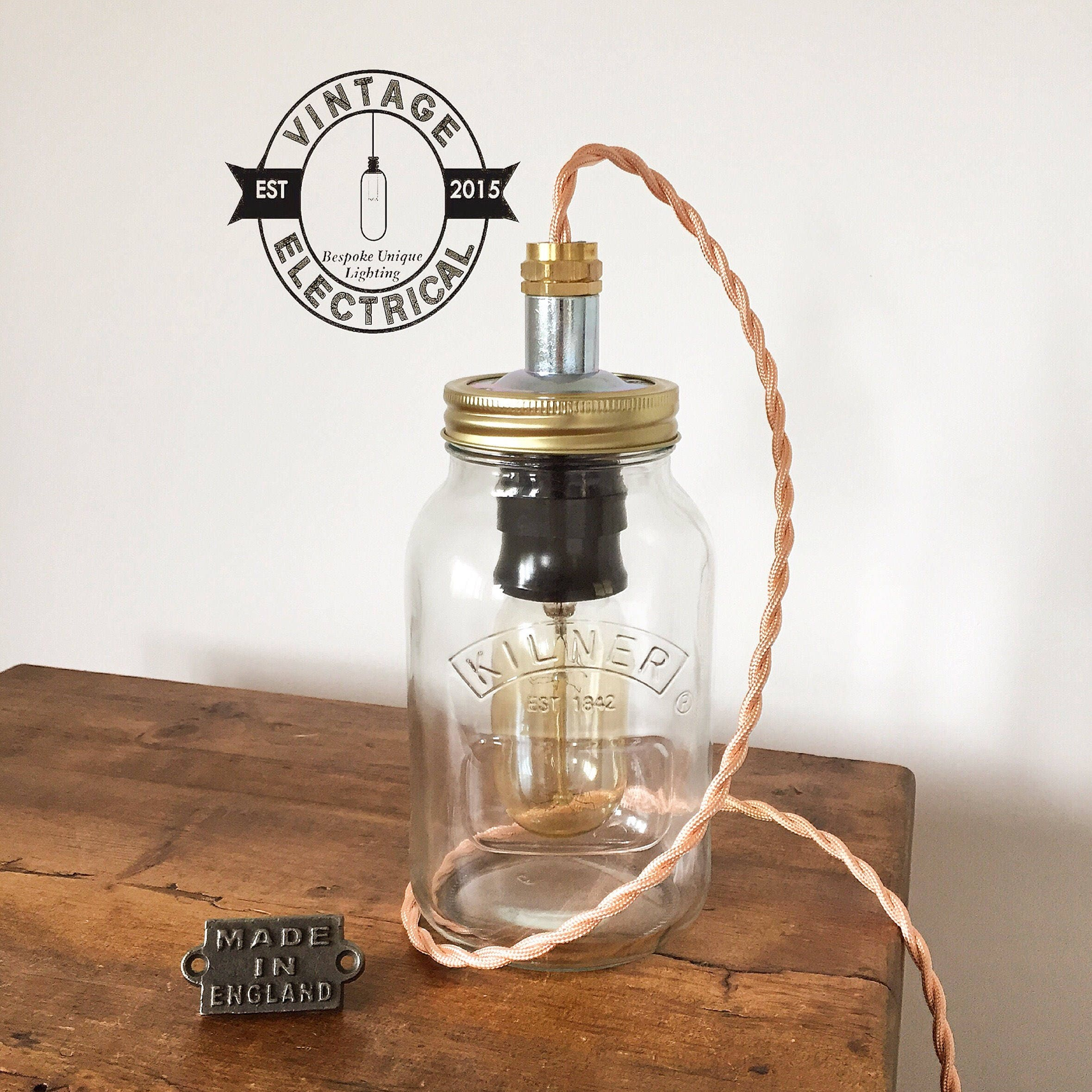 Edison Bulb Chandelier Mason Jar Lighting Mason By: The Kilner Copper Mason Jar Table Light Industrial Vintage