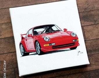 Mini Canvas Giclée Print with Easel - Handmade - Porsche 911 red, drawing artwork by Fleurdoodles Maike Geller