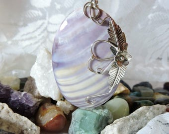 Purple Shell Pendant Necklace Large Sterling Silver