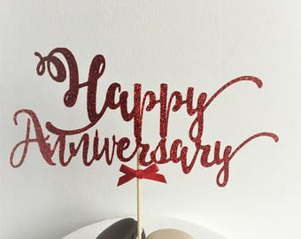 Happy Anniversary Cake Topper, Custom Colour, Party Cake Decor, Glitter Topper, Cake Decorations, Centrepiece, Party Decorations
