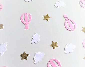 Hot Air Balloon, Cloud and Star Confetti, 50 Pieces, Baby Shower, Gender Reveal, Birthday Party, Bon Voyage, Table Decorations