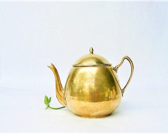 """Vintage Small Solid Brass Tea Pot - Gorgeous Little Golden Color Teapot, Gooseneck Style Spout - Smaller Size For 1 / Tea time for Kids 4x5"""""""