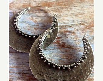 ONSALE Kali Hoop Earrings, Tribal Hoops, Ethnic Earrings, Boho Earrings, White Brass Earrings, Gypsy Tribal Belly Dance Jewellery