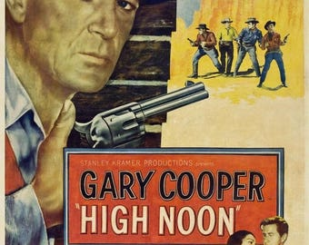 Back to School Sale: HIGH NOON Movie Poster 1952 Western Gary Cooper