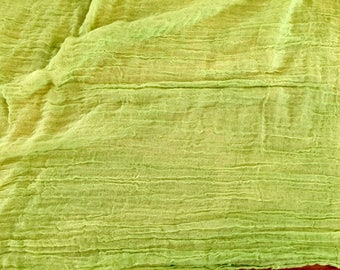 """Hand Dyed Shibori Cotton Gauze Scrimshawl By Amy Brill Lime Green Cheesecloth American Made 108"""" x 36"""" Notions Scarf Dyed Fabric"""