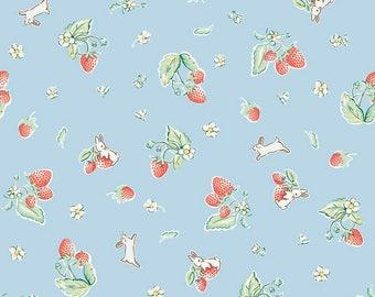 "1/2 yard Penny Rose Fabrics ""Bunnies and Cream"" By Lauren Nash | Bunnies Strawberry Blue"