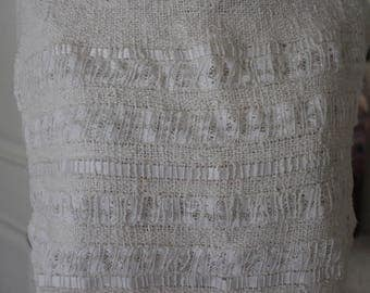 Hand-dyed, hand-woven top and skirt,  cool blend of cotton, rayon fibers with lace and ribbons