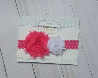 Hot Pink and White Headband- Baby Headband, Infant Headband, Newborn Headband, Baby Girl Hair Accessories, Baby Shower Gift for Girls