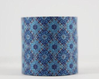 Washi tape mosaic blue