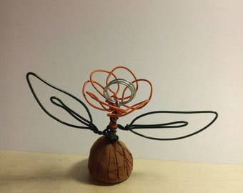 mark up flower carved in wire and clay (made to order)