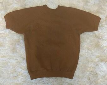 Vintage Short Sleeve Sweatshirt Brown 1980s