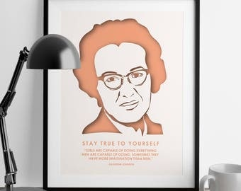 Katherine Johnson Print - Nevertheless She Persisted - Cubicle Accessories - Gift for Women - Wall Art - Nursery Print - Daughter Gift