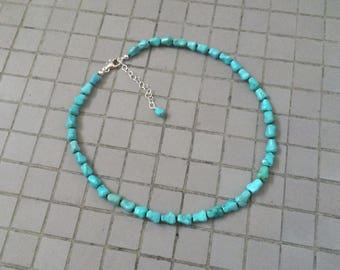 Genuine Turquoise Necklace, Knotted Natural Light Blue Green Chinese Turquoise Dog Bone Beaded Necklace