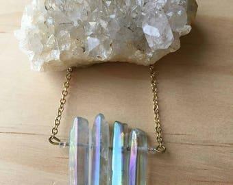 Aqua Angel Aura Quartz Gold Necklace