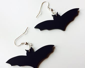 Bat | Halloween | Batman | Monster | Emo | Matt | Black | Laser Cut | Acrylic | Earrings