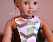 """Chevron print dress American Made to fit 18"""" Girl Doll"""