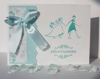 Wedding congratulations card - Light blue satin bow