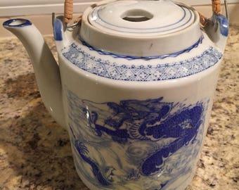 Vintage Asian Tea Pot Blue White
