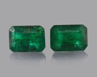 1.97 cts Natural Emerald Faceted Cut Octagon 7x5x3.5 mm 2 Pieces Loose Gemstone - 100% Natural Green Emerald Gemstone - EMGRN-1056