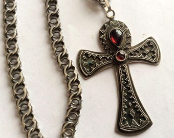 Russian sterling silver Cross Church amulet with natural stones and chain