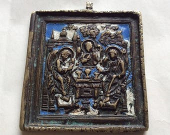 19th century Russian Antique Orthodox Bronze Enamel Icon Trinity أيقونة