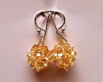 Metallic Sunshine, Swarovski, Crystal Ball, woven, Sterling silver, earrings, Gold, Metallic