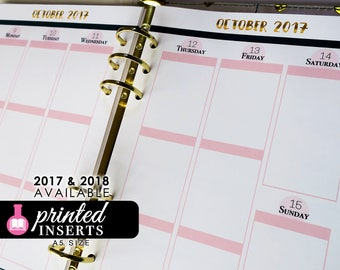 A5 Printed Planner Inserts - Weekly Inserts - Erin Condren Style - Dated or Undated - Filofax A5 - Kikki K Large - Design: Goldie