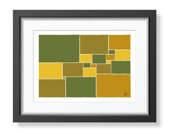 Squared square stretched 03 [mathematical abstract art print, unframed] A4/A3 sizes