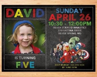 Superhero Invitation, Superhero Avenger Birthday Invitation, Avenger Invitation, Boy Invitation, Birthday Invitation,Personalized Invitation