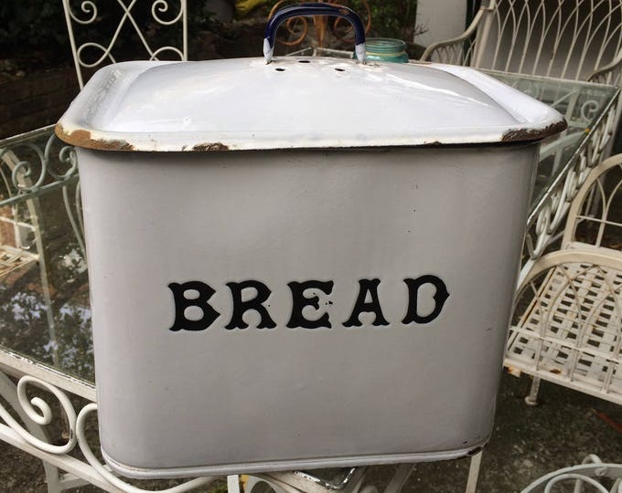 """Antique Blue and White Enamel Bread Bin, Lidded Bread Box, Circa 1920's, Rusty Patches Lid & Base, Fabulous Vintage 11.75"""" x 11.75"""" x 9.5"""""""