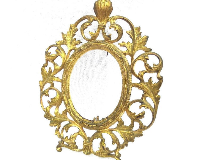 """Ormolu Antique Frame, French Picture Frame, 19th Century, Circa 1890, 11.25"""" x 8.5"""", Good Condition, Aged Patina"""