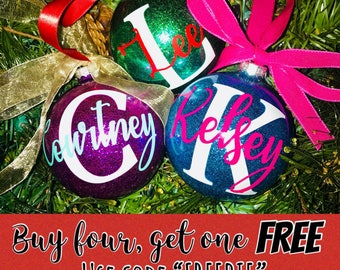 Custom Christmas Ornament; Glitter Christmas Ornament; Personalized Christmas Ornament; Little Girl Christmas Ornament; Name Ornament