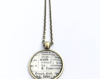 TRUTH Vintage Dictionary Word Pendant