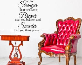 You are stonger than you seem vinyl Wall decal