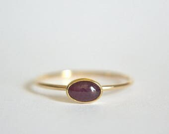 14k Solid Gold Oval Ruby Ring, 14k Gold Ruby Oval Ring, Ruby Ring 14k Gold, Natural Ruby Gold Ring, Ruby Ring Gold, Stacking Ring