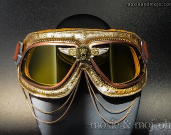 "Burning Man Goggles, Dust Goggles, Playa Goggles, Steampunk Aviator Goggles: ""The Aviator"" ~ perfect for the Playa!"