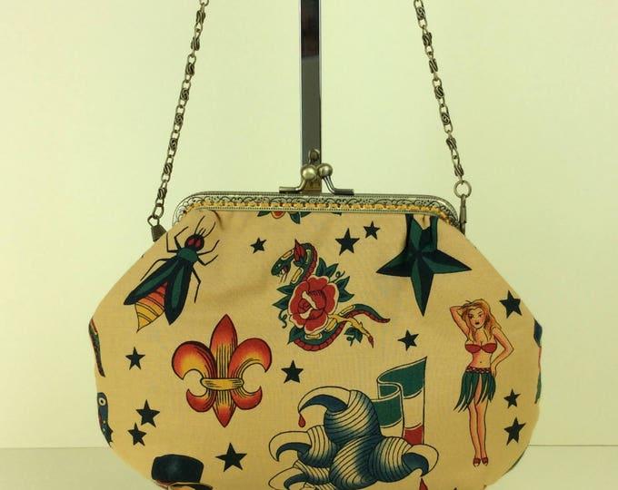 Gothic Tattoo Alice frame bag Alexander Henry fabric  handbag purse makeup bag handmade in England