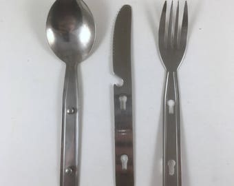 Camping Silverware, Stainless Steel Knife, Fork Spoon Girl Scouts, Boy Scouts, Lunch Boxes, Vintage 1980s, Workplace or Office Cutlery