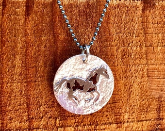 Hand Pierced and Etched Galloping Appoloosa Necklace-Horse Necklace-Horse Jewelry