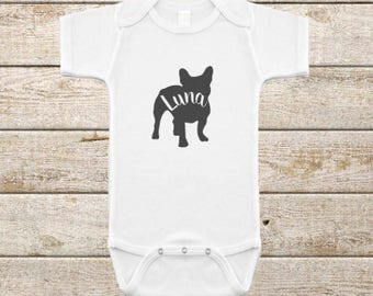 Frenchie Baby Onesie/Personalized/Infant Bodysuit/French Bulldog/Baby Shower Gift/New Baby Gift/Baby Sprinkle/Puppy Baby/Gender Neutral Gift