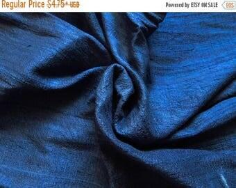 10% OFF Pure Silk Fabric, Pure Dupioni Silk Fabric, Silk Fabric, Indian Silk Fabric, Navy Blue Silk Fabric